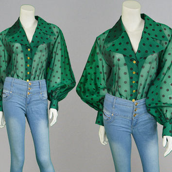 Vintgae 80s Blouse JAEGER Green & Black Polka Dot Sheer Balloon Sleeve Womens Shirt Secretary Blouse Office Blouse 1980s Blouse Party Top