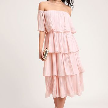 Gala Ready Blush Pink Off-the-Shoulder Ruffle Midi Dress