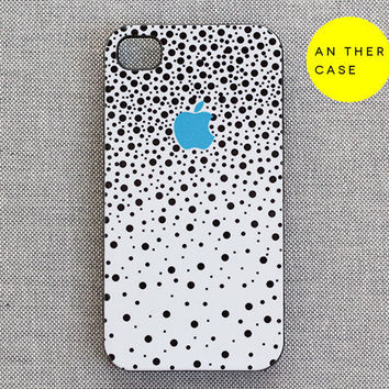 iPhone 4 case, iphone 4s case, white case for iphone - black dots blue apple logo - iphone 4 cover, iphone 4s cover, iphone accessories