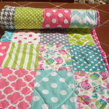 Modern Baby quilt,crib quilt,baby girl bedding,baby girl quilt,woodland rustic baby quilt,teal,hot pink,aqua,grey,owls,chevrons,Bright Owls