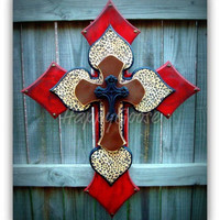 X-Large Wall CROSS - 4 layers - antiqued red & leopard