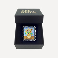 Cross-stitch Masterpiece Brooch (small) Sunflowers