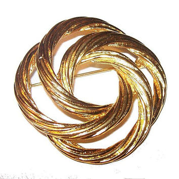Gold Knot Pin Brooch Signed Monet Swirled Gold Twisted Metal Vintage 1960s