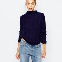 Fashion Union Cable Knit Roll Neck Crop Jumper