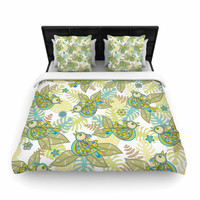 "Julia Grifol ""Summer Birds"" Green Lime Woven Duvet Cover"