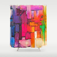 Color Interlace Shower Curtain by Xchange Studio