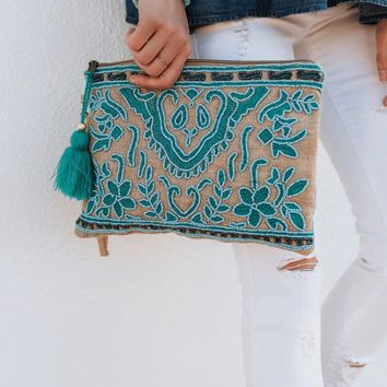 Ava Lovestitch Embroidered Clutch Handbag