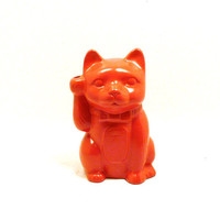 welcoming cat figurine, Maneki-neko, asian pop art, cats, home decor, good luck, statue, red, ceramic cat,