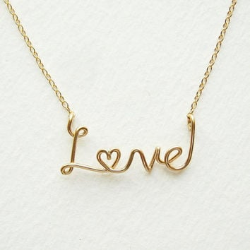 Gold Love Heart Necklace 14k Gold Fill Cursive Script