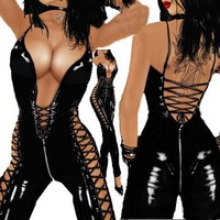Leather Zipper Bodysuit Sexy Jumpsuit