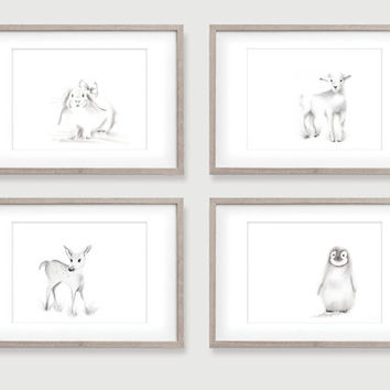 Nursery Animal Art, Baby Animals, Set of 4 Prints, Grey nursery art, Collection, Pencil Drawing, Children's Art prints,  Animal Wall Decor