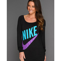 Nike Sportswear L/S Top Black/Neo Turquoise - Zappos.com Free Shipping BOTH Ways