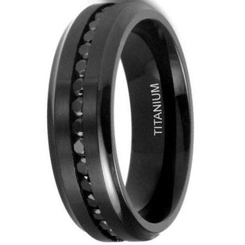CERTIFIED 7MM Men's Eternity Black Titanium Ring Wedding Band with CZ