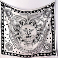 90 x 90 Cotton Fabric White Sun Moon Wall Tapestry Boho Bedspread Bedding Throw Wall Hanging Hippie Bohemian Home Decor Art