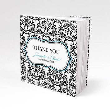 Damask Love Bird Notepad Favor with Custom Cover Berry (Pack of 1)