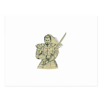 Samurai Warrior Swordfight Stance Drawing Postcard