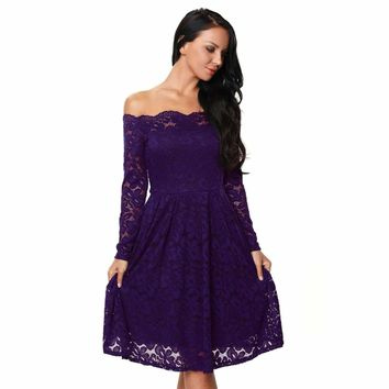 Purple Long Sleeve Floral Lace Boat Neck Cocktail Swing Dress