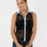 Black Lace Button Top With Pearls