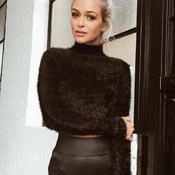 Women's Plush Winter Turtleneck Crop Sweater