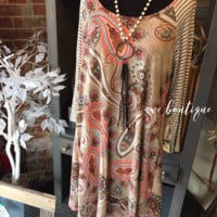 Paisley Dress with Striped Sleeves
