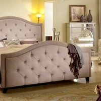 5 pc Francille collection transitional style taupe fabric upholstered queen bedroom set with mirrored fronts
