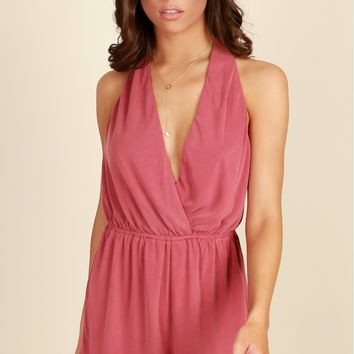 Somewhere Later Romper Deep Coral