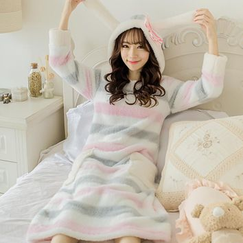 Winter Girls Striped Pyjamas Women Thicken Warm Home Wear Pijama Soft Velvet Flannel Pajamas Cute Loose Sleepwear Rabbit Hooded