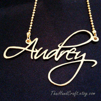 "Script Classic Style Name Necklace, Customized with ANY NAME. ""Free Shipping"""