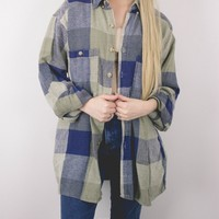 Vintage Navy Blue Green Plaid Flannel Shirt