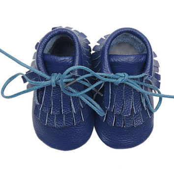 Double Fringe Baby Moccasins- Midnight Blue