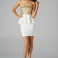 Cream Strapless Peplum Dress with Gold Sequin Top