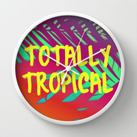 Totally Tropical Wall Clock by Ally Coxon   Society6
