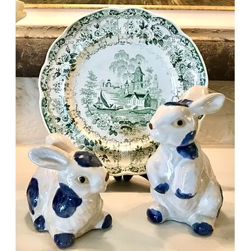 Vintage Pair of Blue & White Spotted Stoneware Rabbit Figurines