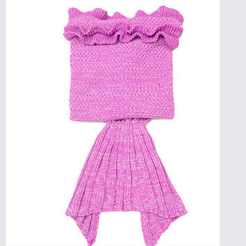 Pink Crocheted Cascading Ruffles Flounce Mermaid Tail Blanket For Child