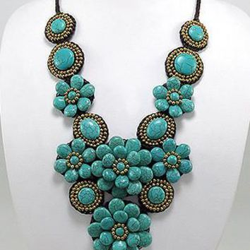 "22-24"" Brass Statement Necklace with Semi-Precious Stones Flower Design"