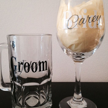 Bride and groom wineglass and beer mug set of 2. Custom Wedding reception glasses.