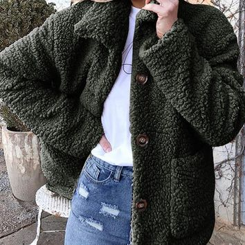 New Green Buttons Pockets Turndown Collar Long Sleeve Streetwear Outerwear