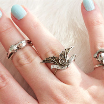 Sterling Silver Stacking Rings | Quirky Rings | Tiny Cat Ring | Elephant Ring | Animal Jewelry | Flying Bird Ring | Dainty Nature Jewelry