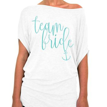 Team Bride Nautical Script Collection Slouchy Tee - Off The Shoulder Slouchy T-shirt