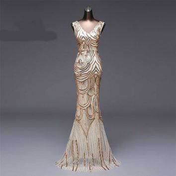 New V-neck  Evening Dress Formal party dress  Luxury  Long Sequin robe prom gowns