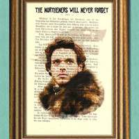 Game of Thrones ROBB STARK -  Dictionary art - Wall art- book page print recycled - Art Print Dictionary