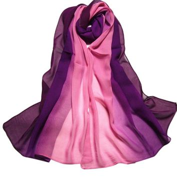 Summer Fashion Chiffon Scarf Gradient Colors Georgette Female Elegant Patchwork Silk Scarves Cape Manta High Quality #10