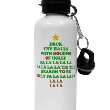 Deck the Halls Lyrics Christmas Tree Aluminum 600ml Water Bottle