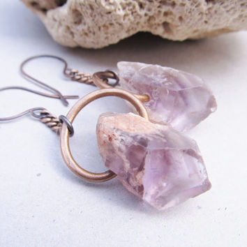 Raw Gemstone Dangle Earrings Raw Amethyst Earrings Healing Crystal Metaphysical Rustic Earrings DanielleRoseBean Raw Gemstone Earrings