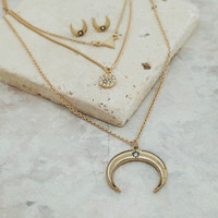 Multi layered cresent pendent necklace and earrings