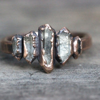Raw Crystal Ring Quartz Crystal Ring Herkimer Diamond Ring Healing Crystals and Stones Natural Stone Jewelry Electroformed Ring Size 11.5