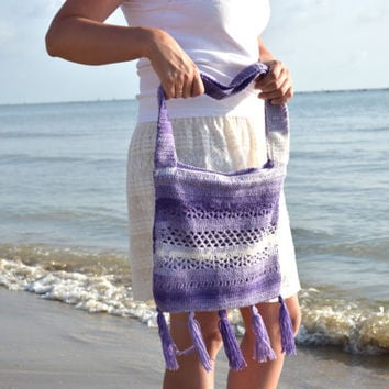 Boho Crochet Tote-Summer beach bag-Fringe Pouch-Hippie Purse-Hippy knit bag-Bohemian-Purple bags-Hobo shoulder bag-Boho crossbody totes