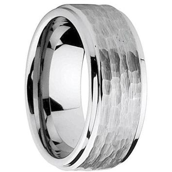 Mens Carbide Wedding Tungsten Ring Stepped Down Edge Hammered Center - 9mm