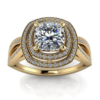 Cushion Cut Engagement Ring Double Halo Diamond Setting Moissani d43748c3c
