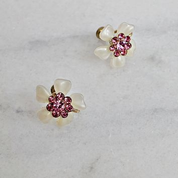 Vintage 1950s Petite + Sparkle Floral Earrings